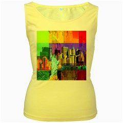 New York City The Statue Of Liberty Women s Yellow Tank Top