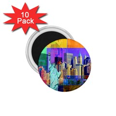 New York City The Statue Of Liberty 1 75  Magnets (10 Pack)