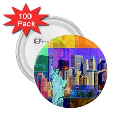 New York City The Statue Of Liberty 2 25  Buttons (100 Pack)