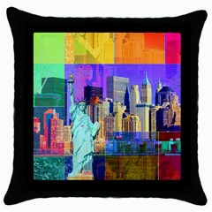New York City The Statue Of Liberty Throw Pillow Case (black)