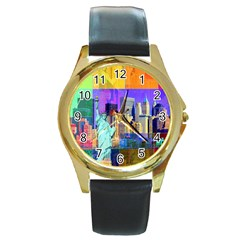 New York City The Statue Of Liberty Round Gold Metal Watch