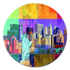 New York City The Statue Of Liberty Magnet 5  (round)