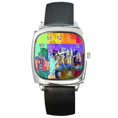 New York City The Statue Of Liberty Square Metal Watch