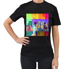 New York City The Statue Of Liberty Women s T Shirt (black) (two Sided)