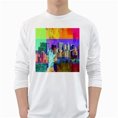 New York City The Statue Of Liberty White Long Sleeve T Shirts
