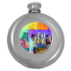 New York City The Statue Of Liberty Round Hip Flask (5 oz)