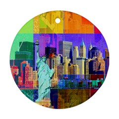 New York City The Statue Of Liberty Round Ornament (Two Sides)