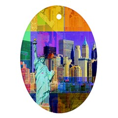 New York City The Statue Of Liberty Oval Ornament (Two Sides)