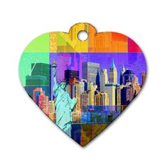New York City The Statue Of Liberty Dog Tag Heart (two Sides)