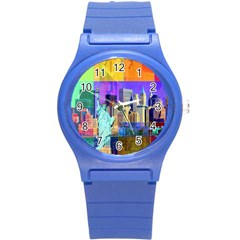 New York City The Statue Of Liberty Round Plastic Sport Watch (s)