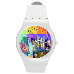 New York City The Statue Of Liberty Round Plastic Sport Watch (m)
