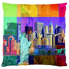New York City The Statue Of Liberty Large Cushion Case (two Sides)