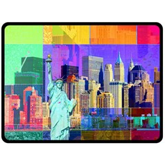 New York City The Statue Of Liberty Double Sided Fleece Blanket (large)