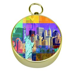 New York City The Statue Of Liberty Gold Compasses