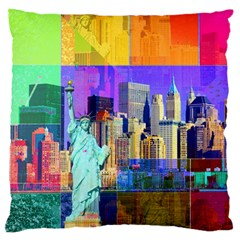 New York City The Statue Of Liberty Large Flano Cushion Case (one Side)