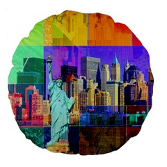 New York City The Statue Of Liberty Large 18  Premium Flano Round Cushions