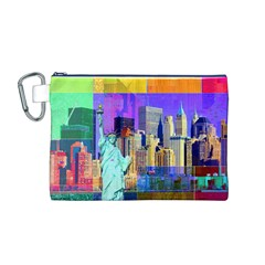New York City The Statue Of Liberty Canvas Cosmetic Bag (m)