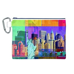 New York City The Statue Of Liberty Canvas Cosmetic Bag (l)