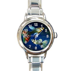 Marine Fishes Round Italian Charm Watch