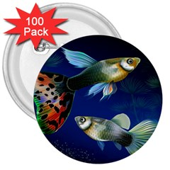 Marine Fishes 3  Buttons (100 pack)