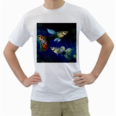 Marine Fishes Men s T Shirt (white) (two Sided)