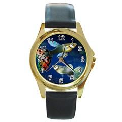 Marine Fishes Round Gold Metal Watch