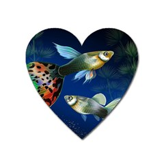Marine Fishes Heart Magnet