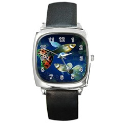 Marine Fishes Square Metal Watch