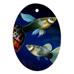 Marine Fishes Oval Ornament (two Sides)