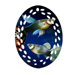 Marine Fishes Oval Filigree Ornament (two Sides)