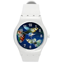 Marine Fishes Round Plastic Sport Watch (m)