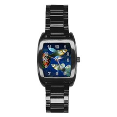 Marine Fishes Stainless Steel Barrel Watch