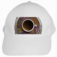 Ethnic Pattern Ornaments And Coffee Cups Vector White Cap