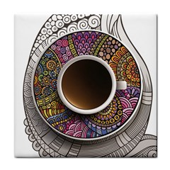 Ethnic Pattern Ornaments And Coffee Cups Vector Tile Coasters