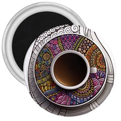Ethnic Pattern Ornaments And Coffee Cups Vector 3  Magnets