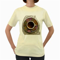 Ethnic Pattern Ornaments And Coffee Cups Vector Women s Yellow T Shirt