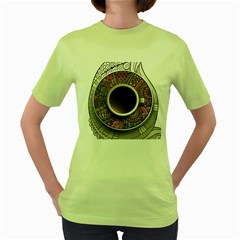Ethnic Pattern Ornaments And Coffee Cups Vector Women s Green T Shirt