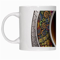 Ethnic Pattern Ornaments And Coffee Cups Vector White Mugs
