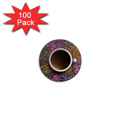 Ethnic Pattern Ornaments And Coffee Cups Vector 1  Mini Magnets (100 pack)