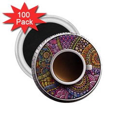 Ethnic Pattern Ornaments And Coffee Cups Vector 2.25  Magnets (100 pack)