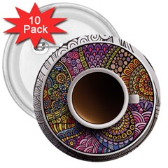 Ethnic Pattern Ornaments And Coffee Cups Vector 3  Buttons (10 Pack)