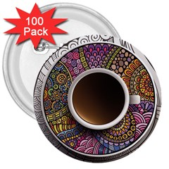 Ethnic Pattern Ornaments And Coffee Cups Vector 3  Buttons (100 Pack)