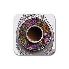 Ethnic Pattern Ornaments And Coffee Cups Vector Rubber Coaster (square)