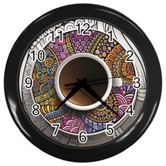 Ethnic Pattern Ornaments And Coffee Cups Vector Wall Clocks (black)