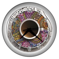 Ethnic Pattern Ornaments And Coffee Cups Vector Wall Clocks (silver)