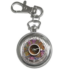 Ethnic Pattern Ornaments And Coffee Cups Vector Key Chain Watches