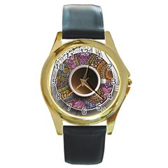 Ethnic Pattern Ornaments And Coffee Cups Vector Round Gold Metal Watch