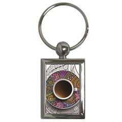 Ethnic Pattern Ornaments And Coffee Cups Vector Key Chains (Rectangle)