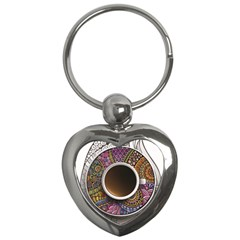 Ethnic Pattern Ornaments And Coffee Cups Vector Key Chains (heart)