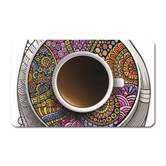 Ethnic Pattern Ornaments And Coffee Cups Vector Magnet (rectangular)